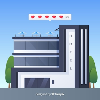 Platte hotel beoordeling concept achtergrond