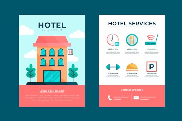 Platte hotel informatie folder sjabloon Premium Vector