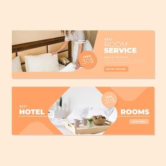 Platte hotel sjabloon voor spandoek met foto
