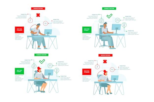 Platte houdingscorrectie infographics sjabloon