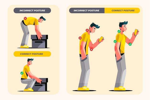 Platte houdingscorrectie infographics