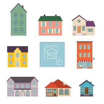 Platte huis pictogrammen instellen. gezinswoning pictogram geïsoleerd op een witte achtergrond. concept voor webbanners, websites, infographics. Premium Vector