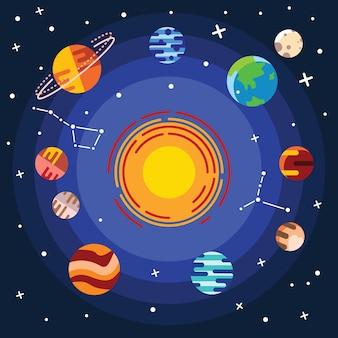 Platte icon set zonnestelsel planeten, zon en maan op donkere ruimteachtergrond.