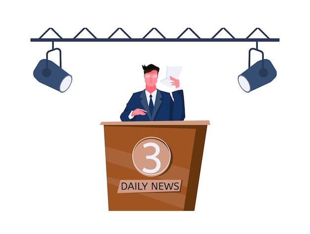 Platte icoon met mannelijke nieuwsanker illustratie