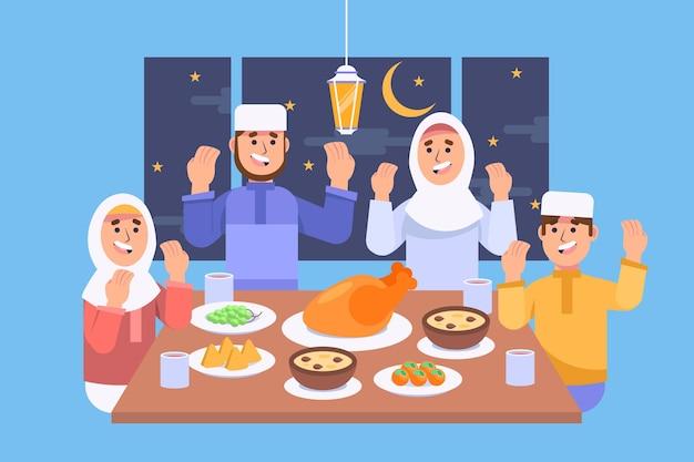 Platte iftar-illustratie met mensen