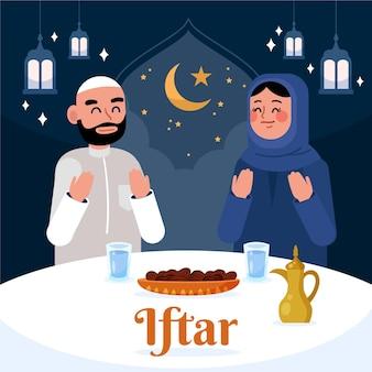Platte iftar illustratie
