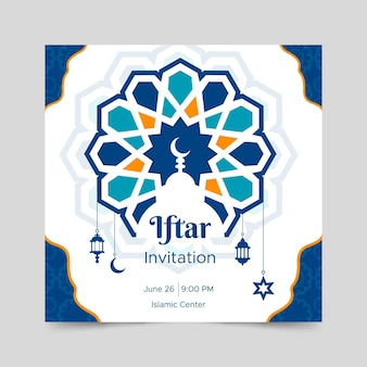 Platte iftar partij kwadraat flyer-sjabloon
