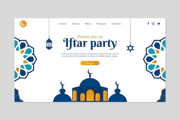 Platte iftar-sjabloon voor de bestemmingspagina van een partij