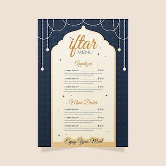 Platte iftar verticale menusjabloon