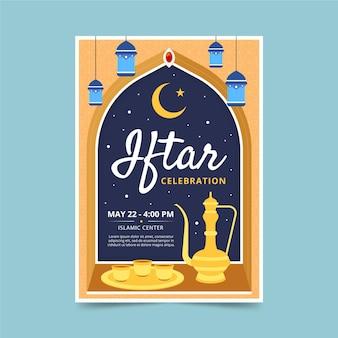 Platte iftar verticale poster sjabloon