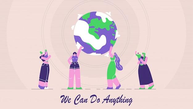 Platte illustratie is geschreven we kunnen alles doen.