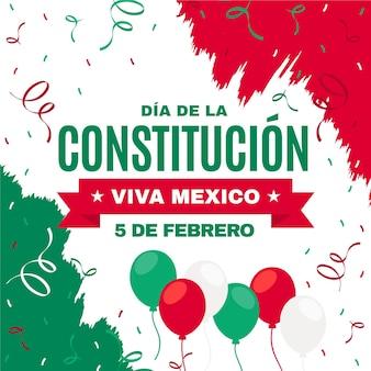 Platte illustratie mexico grondwet dag