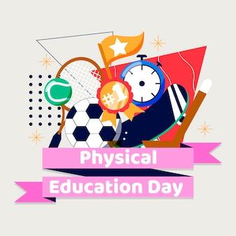 Platte illustratie van de lichamelijke opvoedingsdag