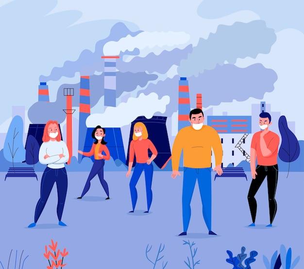 Platte illustratie van de vervuiling met een groep mensen die gezichtsmaskers dragen in de buurt van fabrieksvervuilende lucht