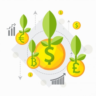 Platte illustratie van groeiende groene planten uit gouden munten voor business investment and growth concept.