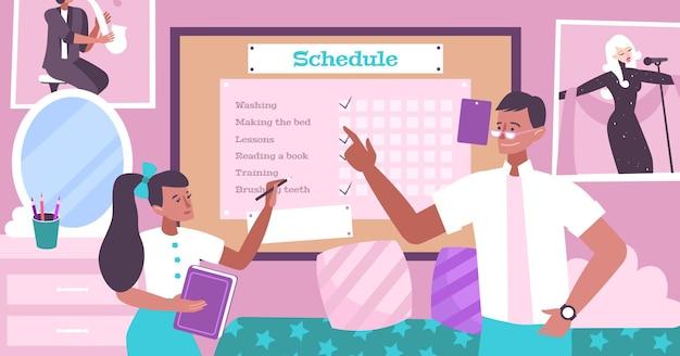 Platte illustratie van het ouderschap met vader die het schema voor zijn dochter maakt