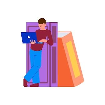 Platte illustratie van online onderwijs met karakterlaptop en boeken
