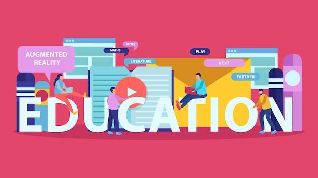 Platte illustratie van online onderwijs