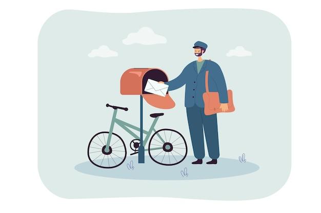 Platte illustratie van postbezorging