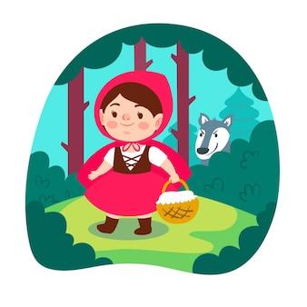 Platte illustratie van roodkapje