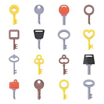 Platte illustraties van verschillende soorten sleutels