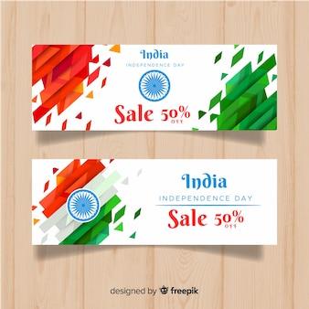 Platte india onafhankelijkheidsdag banners