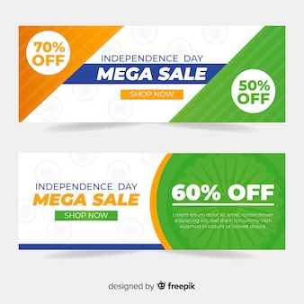 Platte india onafhankelijkheidsdag verkoop banners