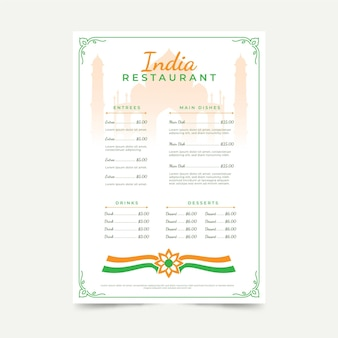 Platte indiase menusjabloon