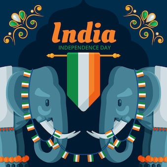 Platte indiase onafhankelijkheidsdag illustratie