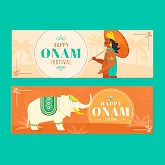 Platte indiase onam banners set