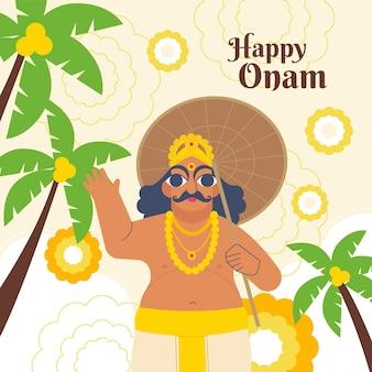 Platte indiase onam viering illustratie