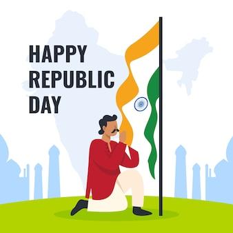 Platte indiase republiek dag ontwerp