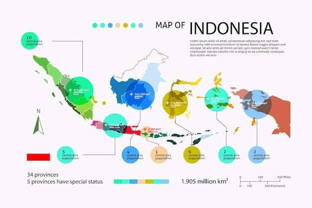 Platte indonesië kaart infographic
