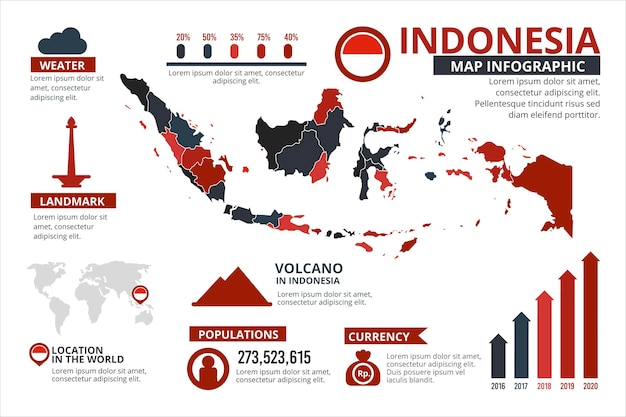 Platte indonesië kaart infographics sjabloon