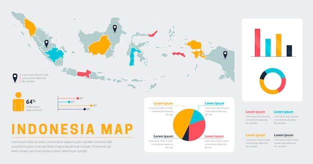 Platte indonesië kaart infographics