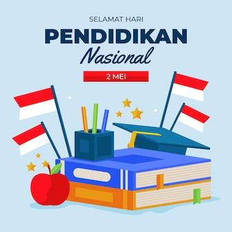 Platte indonesische nationale onderwijsdag illustratie