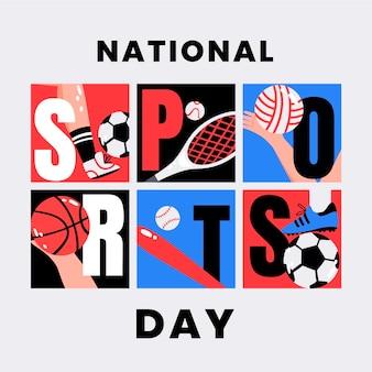 Platte indonesische nationale sportdag illustratie