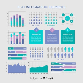 Platte infographic element collectie