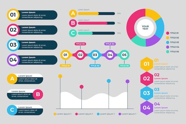 Platte infographic element collectie