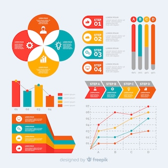 Platte infographic element sjabloonverzameling