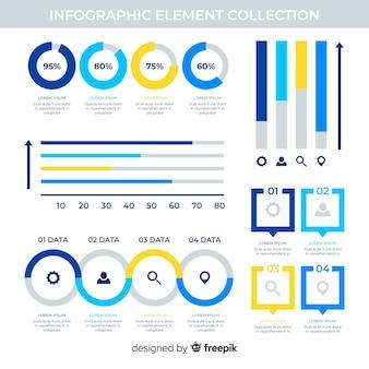 Platte infographic elementen met statistieken collectie