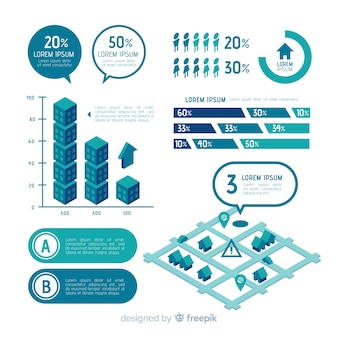 Platte infographic elementen