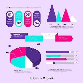 Platte infographic elementenverzameling