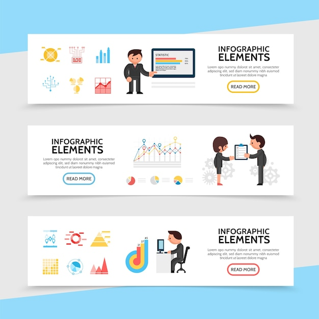 Platte infographic horizontale banners