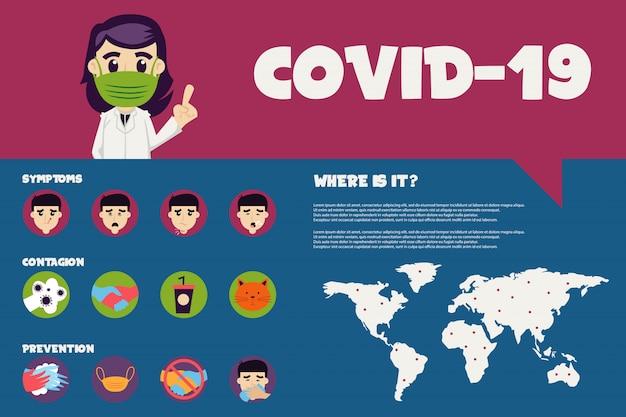 Platte infographic illustratie van covid-19