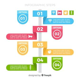Platte infographic kleurrijke stappen