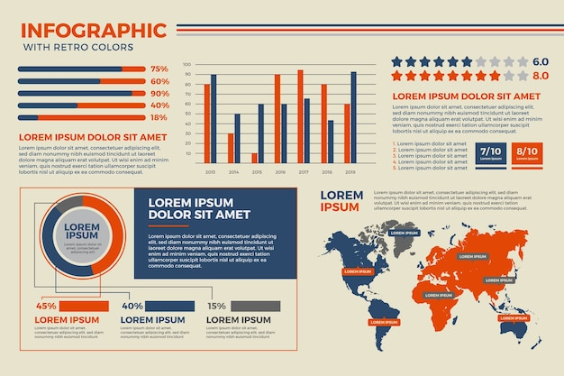 Platte infographic met retro kleuren concept