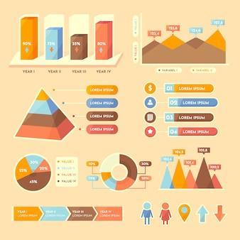 Platte infographic met retro kleuren