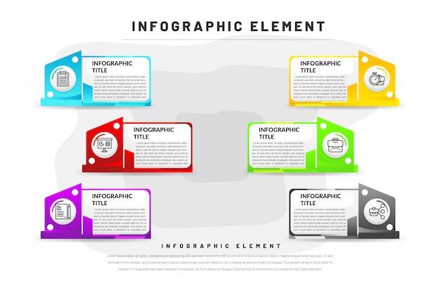 Platte infographic sjabloon voor het bedrijfsleven, website, presentatie met pictogram