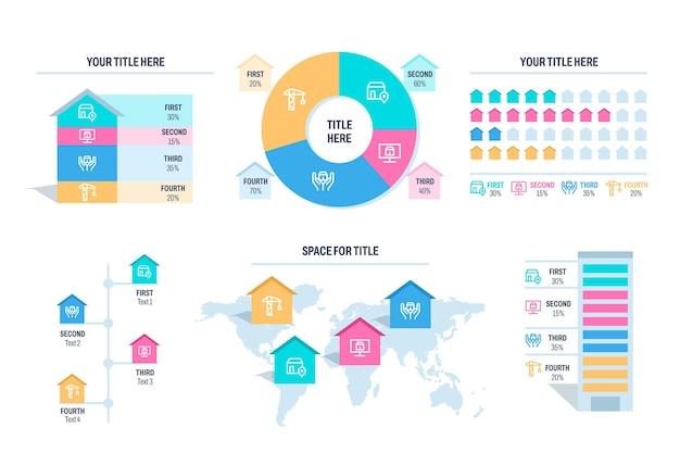 Platte infographic sjabloon voor onroerend goed